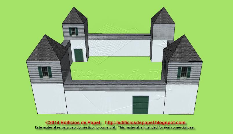 Muros y torres de aspecto colonial para tu maqueta de papel