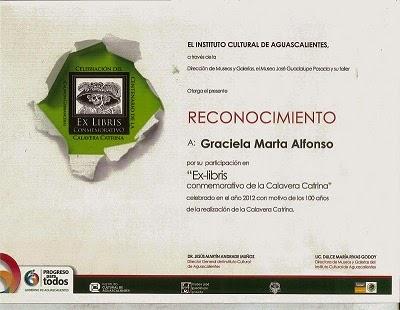"""""""Diploma Reconocimiento Ex-Libris Instituto Cultural de AguasCalientes"""""""