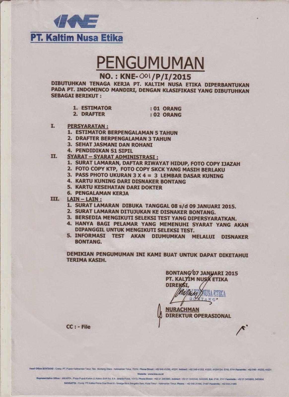 Lowongan Kerja Terbaru Januari 2015 : PT Kaltim Nusa Etika ( KNE ) Bontang