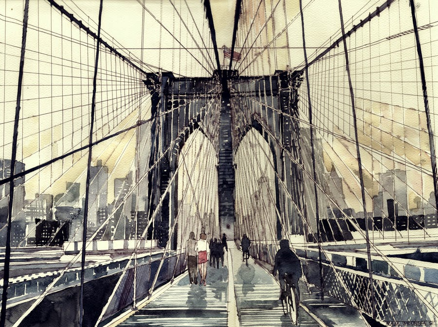 02-Brooklyn-Bridge-Maja-Wronska-Travels-Architecture-Paintings-www-designstack-co