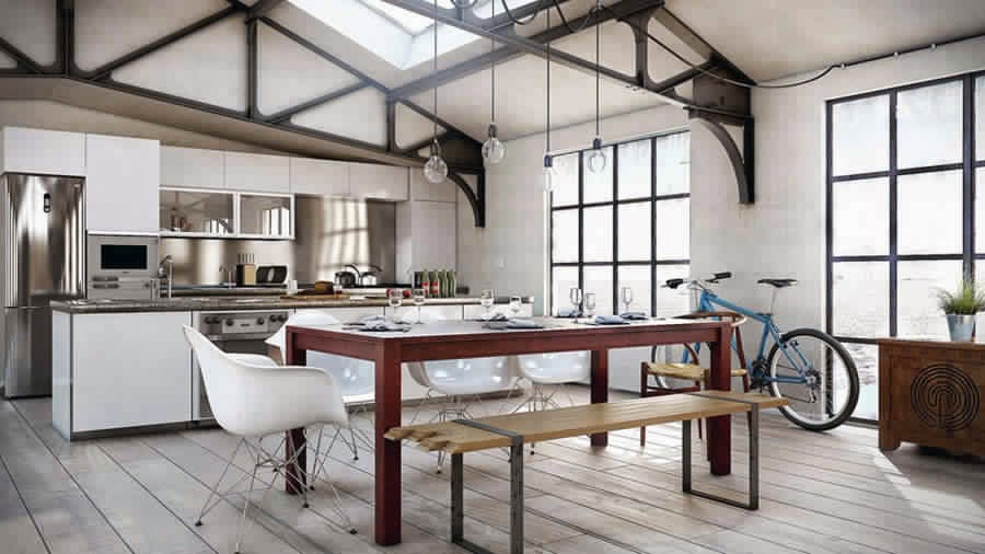 d coration cuisine style loft. Black Bedroom Furniture Sets. Home Design Ideas