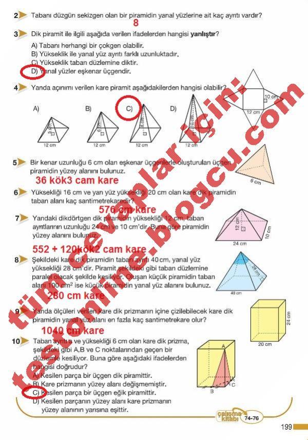 8 Sınıf Matematik Ders Kitabı Cevapları Meb Sayfa 199