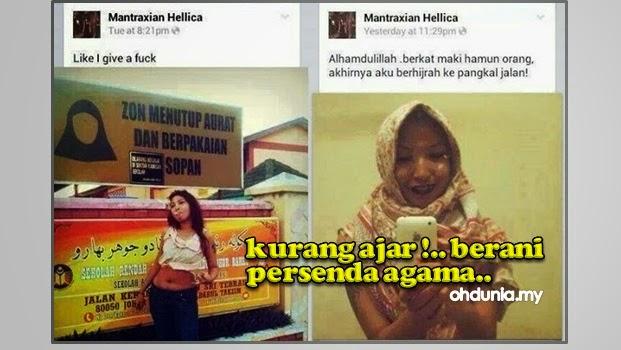 Gadis Biadap Persenda Agama Islam di Media Sosial