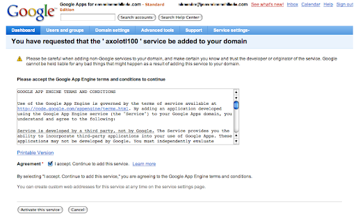 Google App Engine add to domain