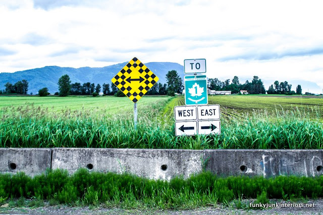 road signs in field