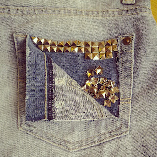 stud pocket denim jeans shorts