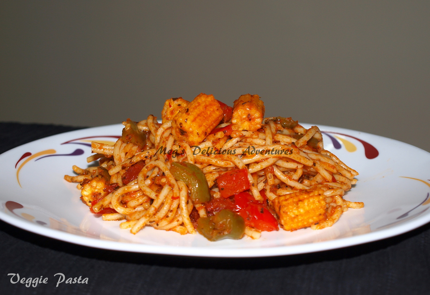 Veggie Pasta Spaghetti With Baby Corn Red And Green Pepper