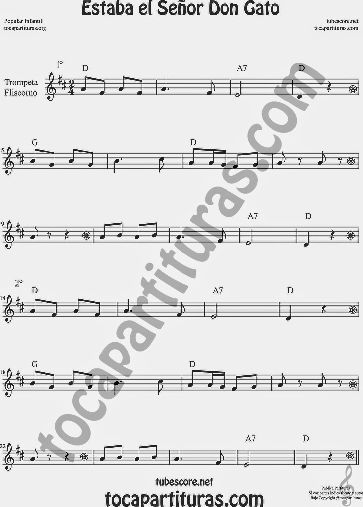 Estaba el Señor Don Gato Partitura de Trompeta y Fliscorno Sheet Music for Trumpet and Flugelhorn Music Scores