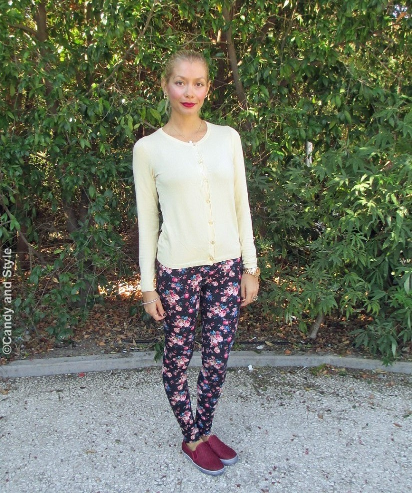 Cardigan, DarkFloralLeggings, Slip-onSneakers, HighPonytail - Lilli Candy and Style Fashion Blog