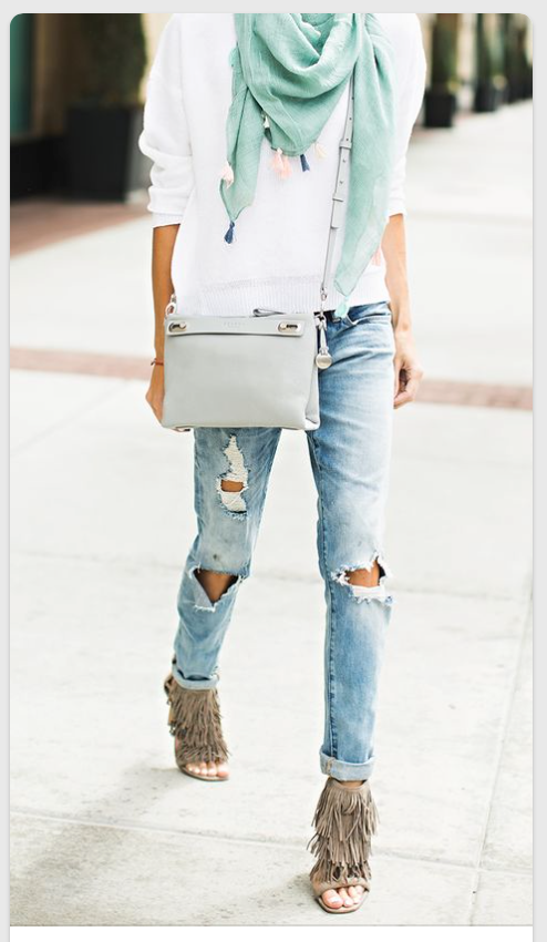 fringe heels with boyfriend jeans hello fashion