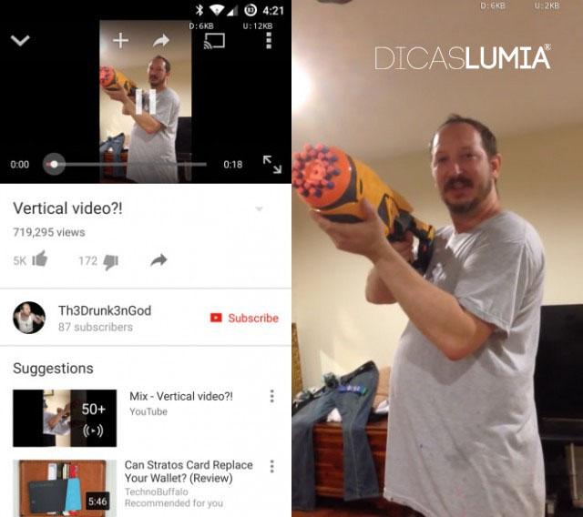 Esquerda: Como um vídeo vertical, usado para aparecer na app Android YouTube. Direita: Como ele aparece agora.