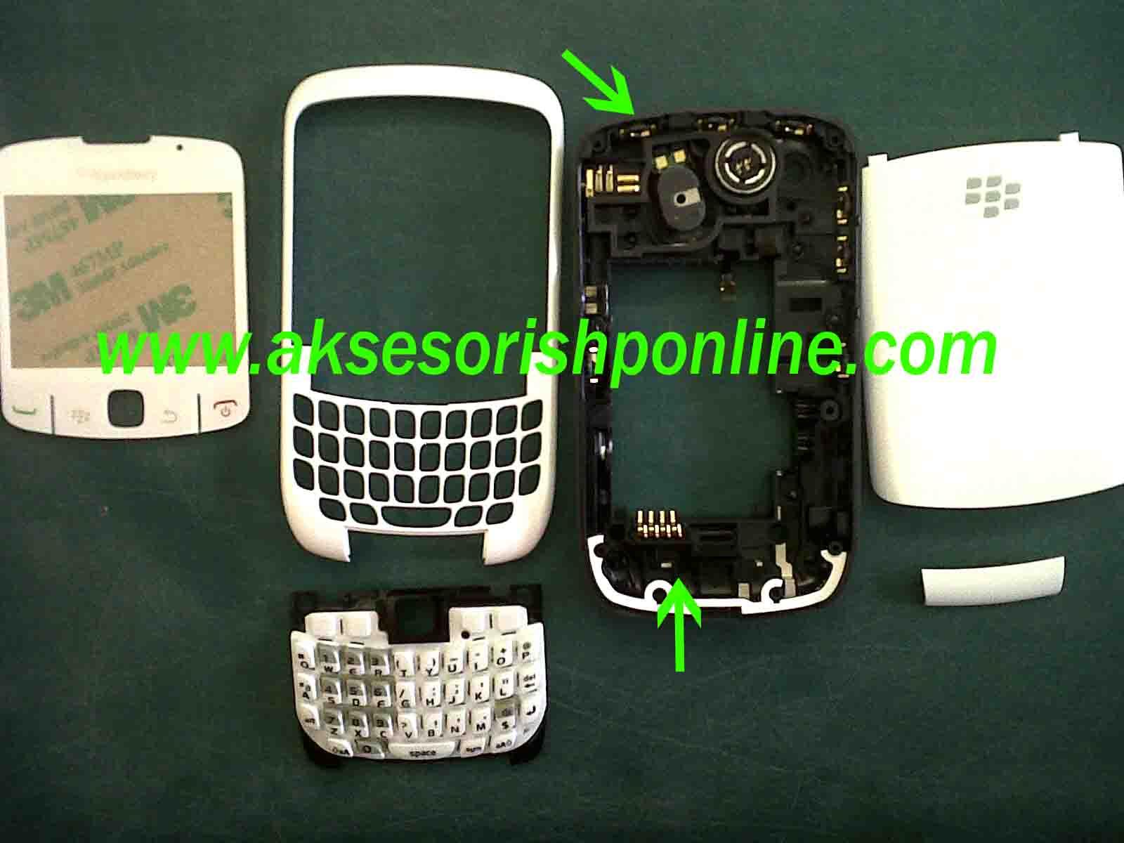 casing fullset blackberry gemini 8520 white pearl edition untuk hp