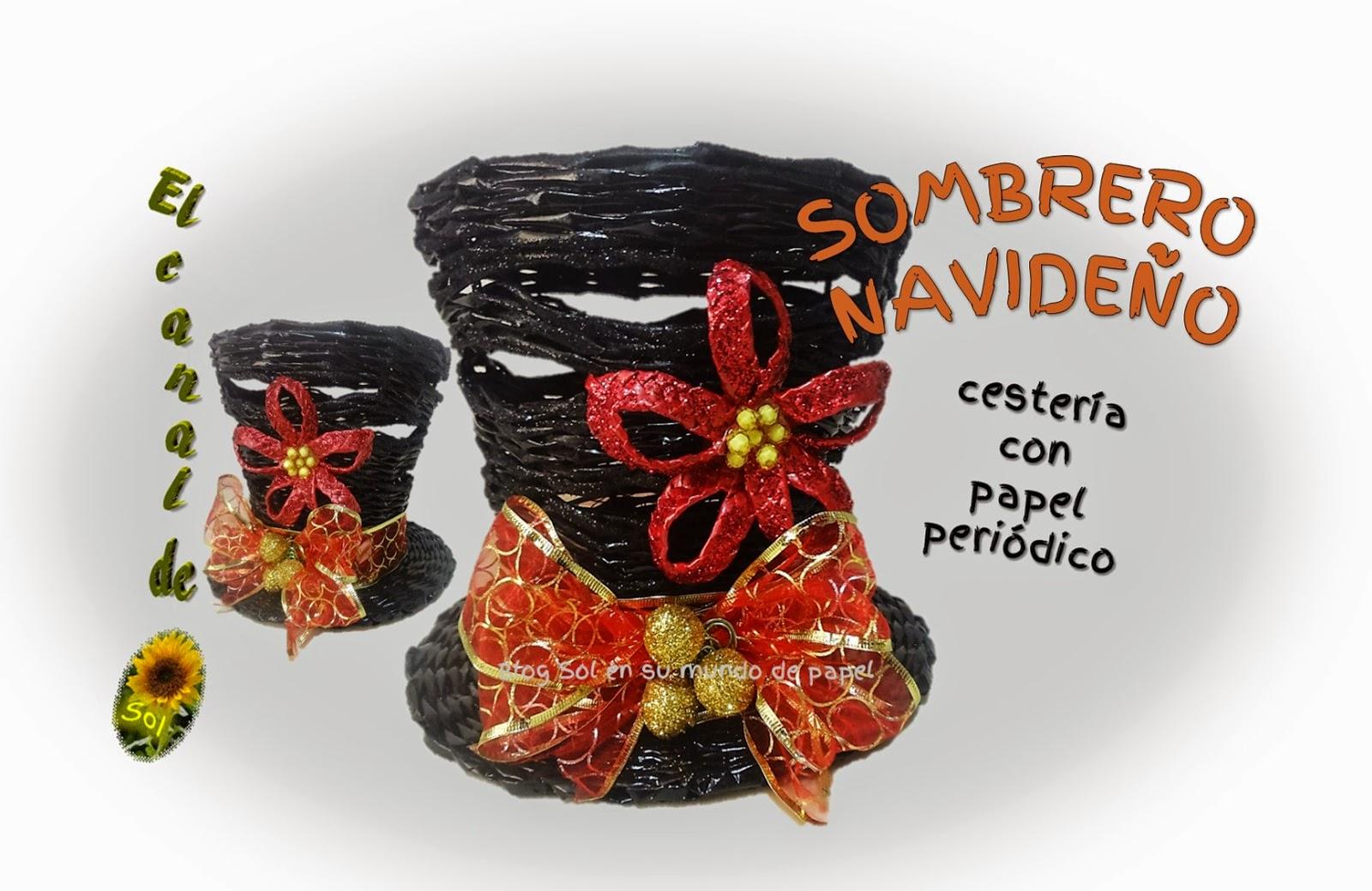 Sombrero navide o cester a con papel peri dico - Cesteria con papel periodico paso a paso ...
