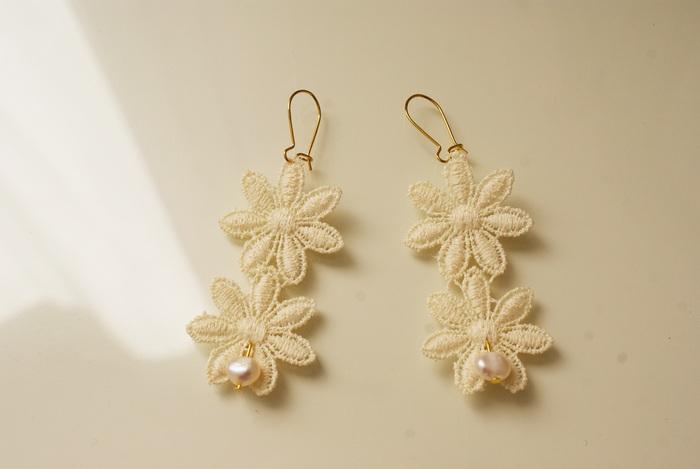 wedding diy earrings lace pearls