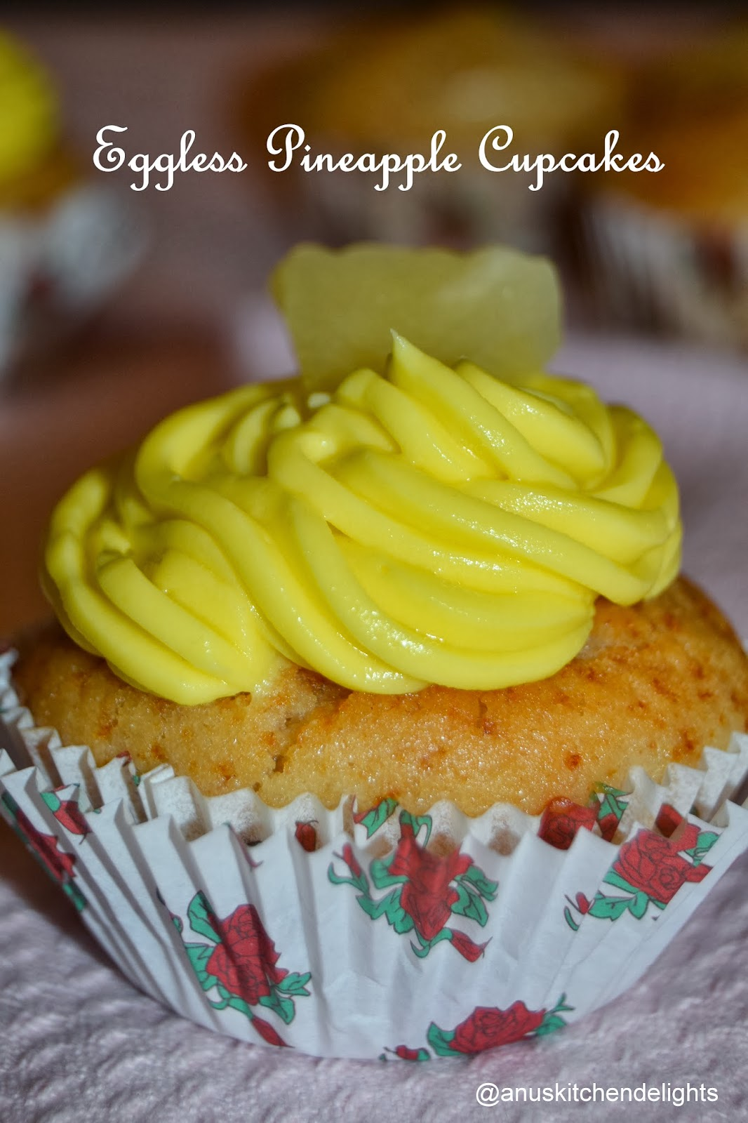 Eggless Pineapple Cupcakes