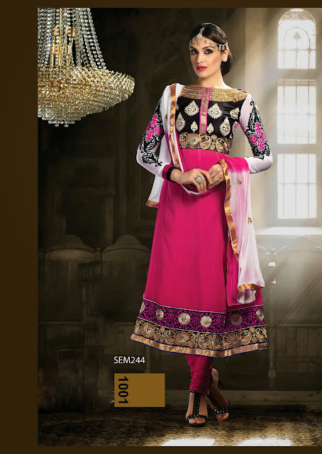 New Designer Embroidered Semi Stitched Anarkali Suit