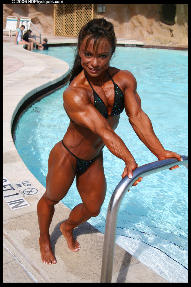 Barbara Fletcher Modeling Her Shredded Muscles In A Black Bikini