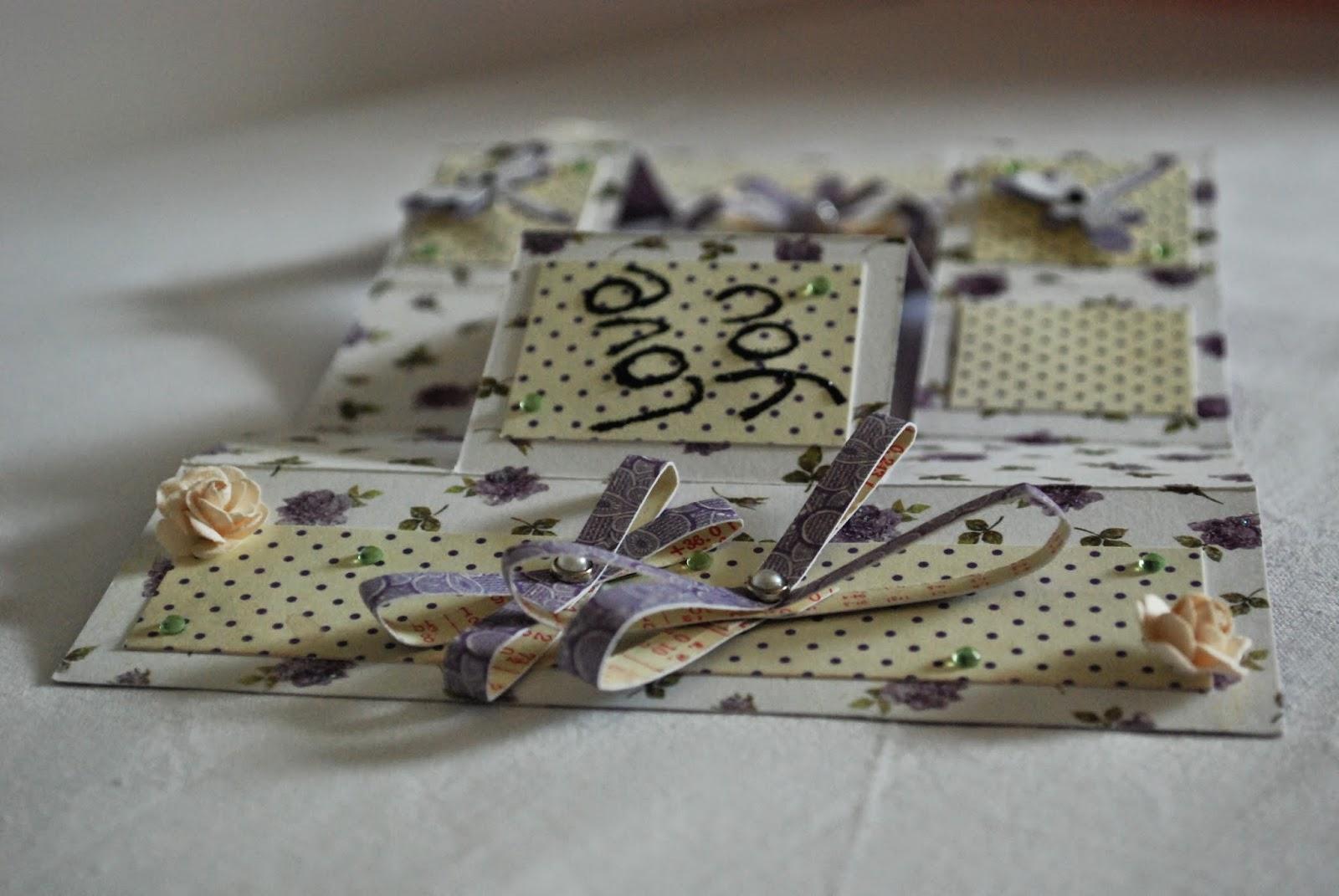 kartka harmonijkowa w groszki, fiolet