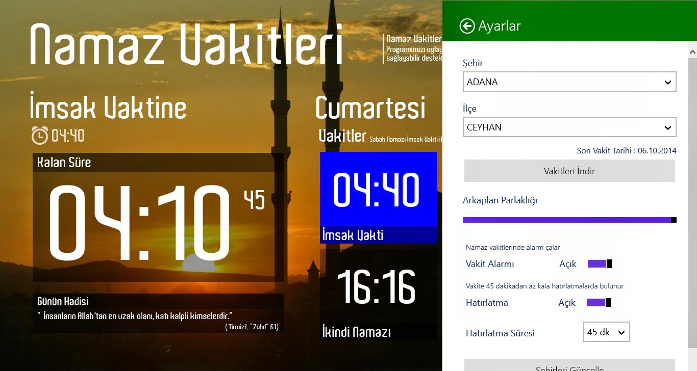 Windows 8 Namaz Vakitleri