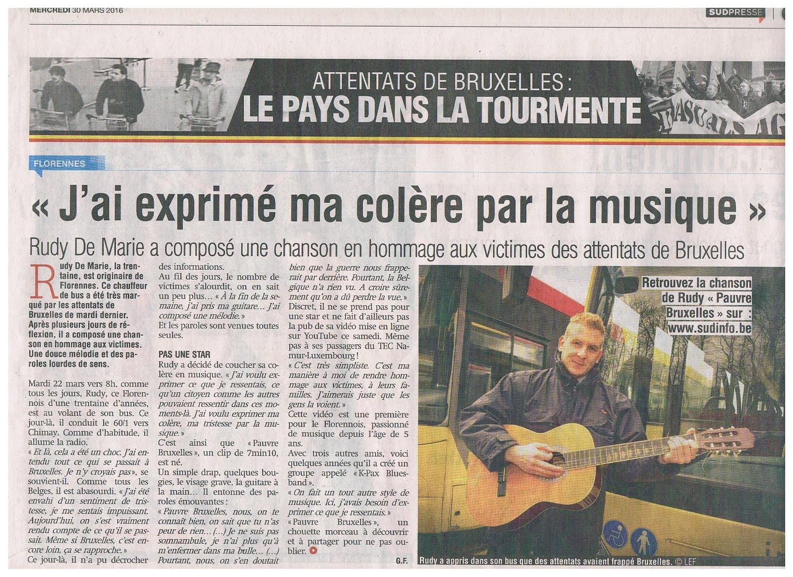 """Article paru dans la Nouvelle Gazette """"Attentats Bruxelles""""..."""