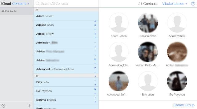 outlook contacts appearing in icloud