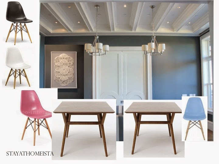 StayatHomeista double table dining room with Eames chairs and #westelm tables