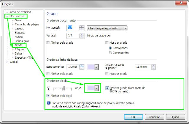 Configuração de Grade para Visualização em PIXEL