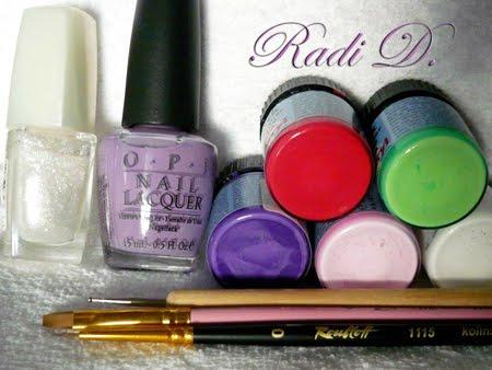 лилав лак за нокти, брокат, акрилни бои, инструмент за точки, четки