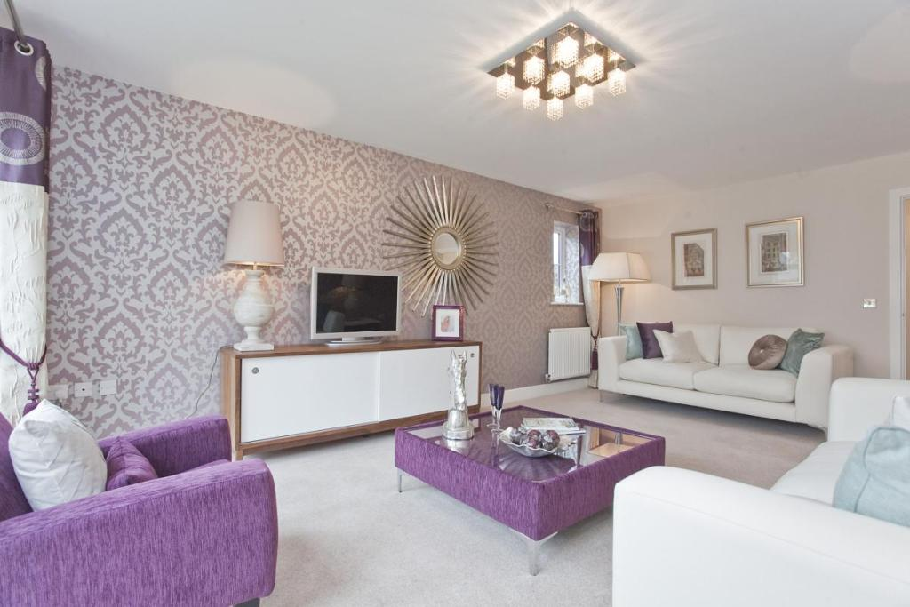 Purple Living Room With Many Combination Colours