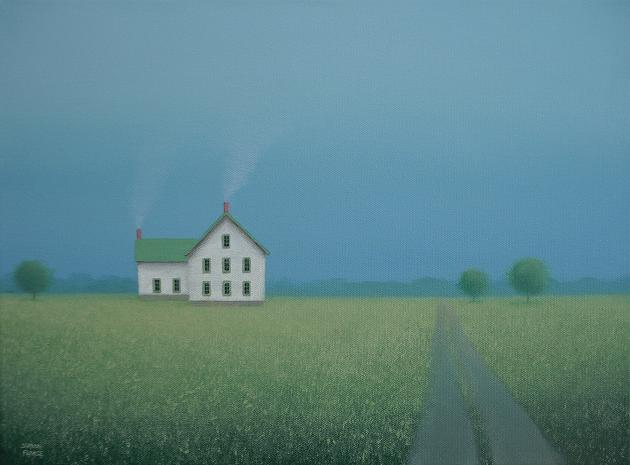 Old Amish Style Farmhouse Original Landscape Painting