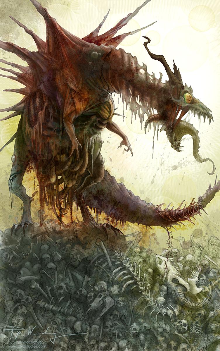Piya's Studio: Zombie Dragon, Twice the Awesome Dragon