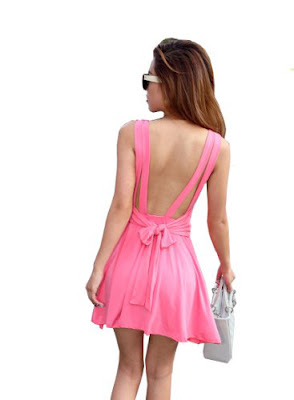 Pink backless dresses