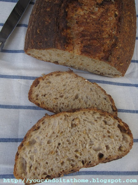 wheaty sourdough with cracked wheat, wheat berries and wheat germ