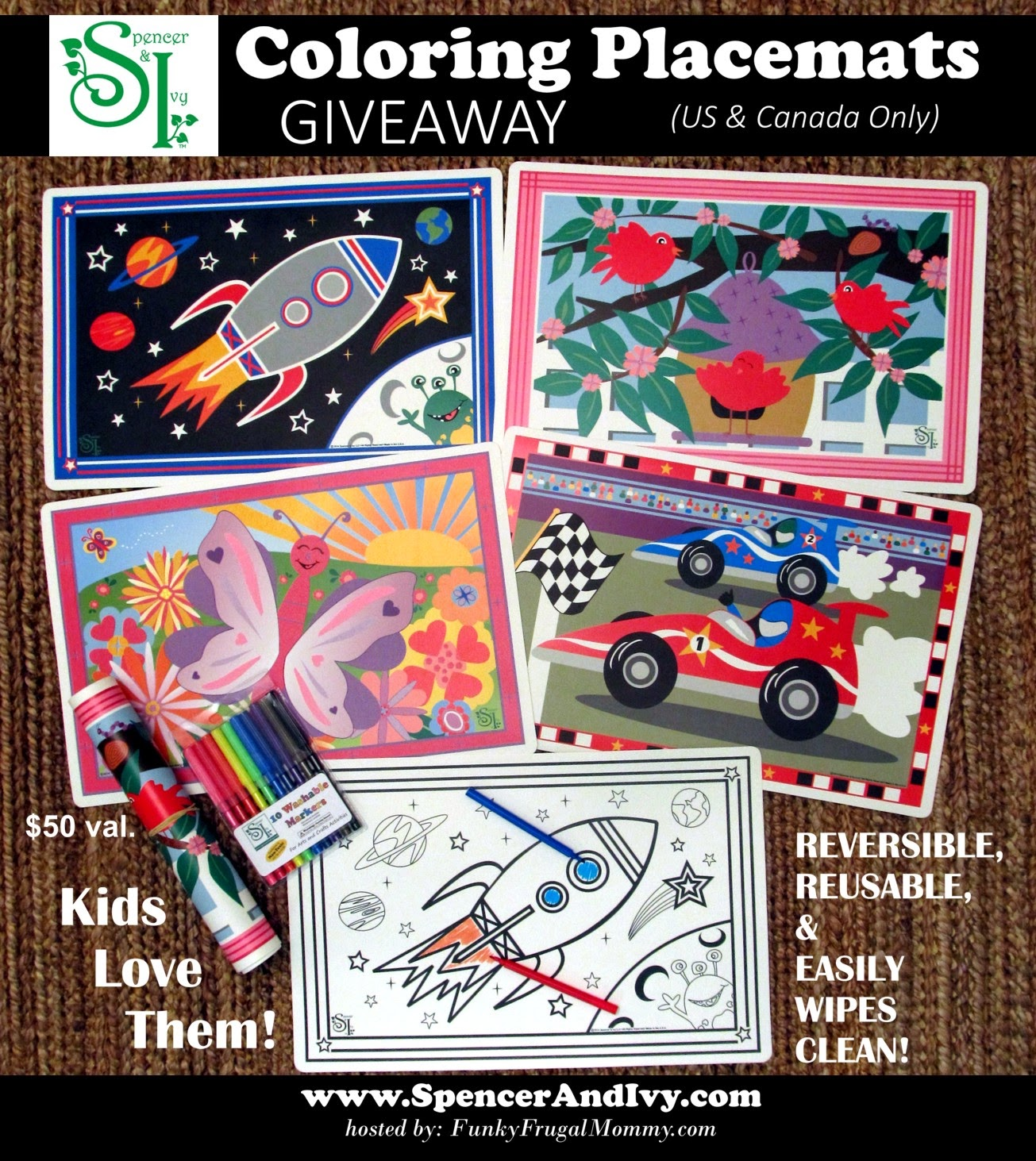 Win Spencer & Ivy Coloring Mats