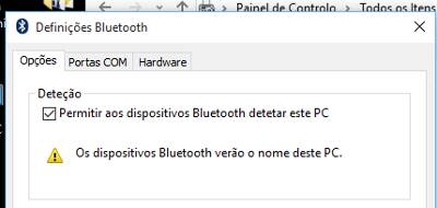 tornar bluetooth visível no pc
