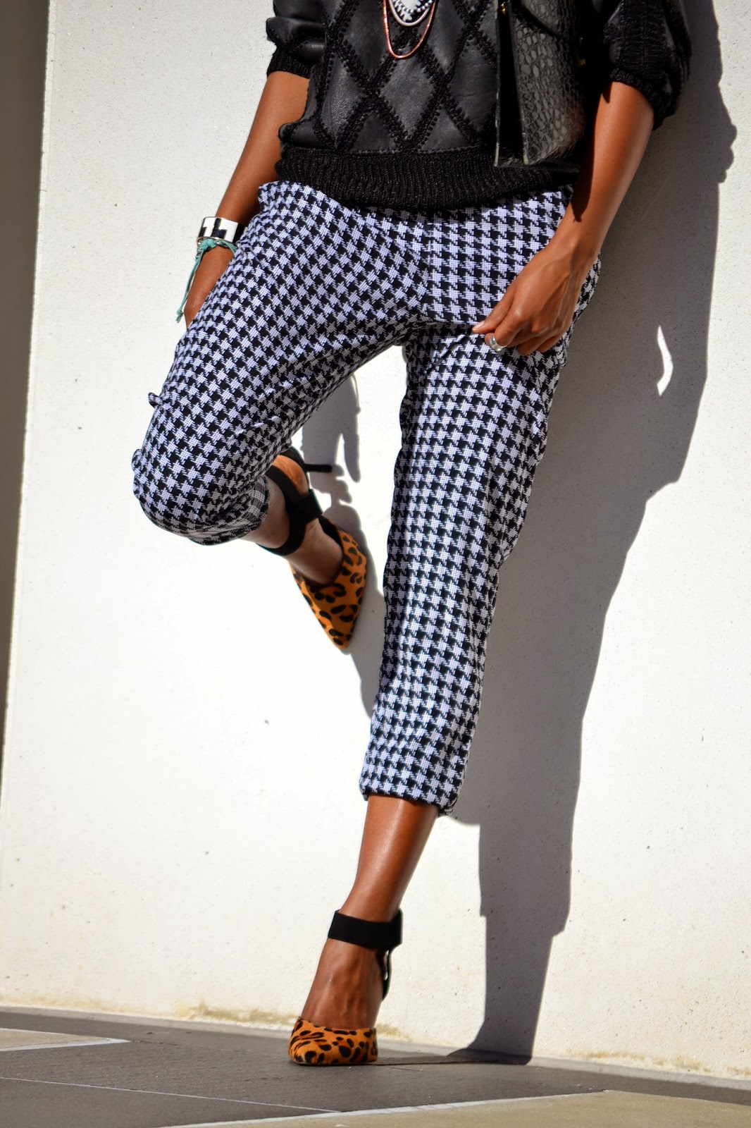 Wearing Target houndstooth pants and Steve Madden Leopard pumps