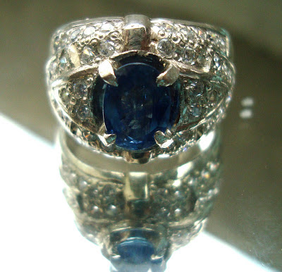 Akik Center Natural Blue Sapphire Corundum