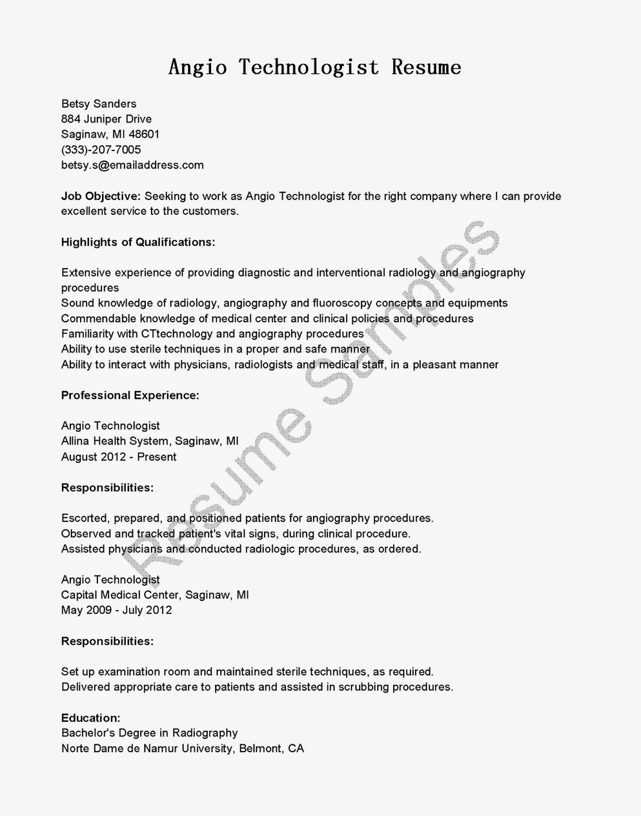 Resume Samples Angio Technologist Resume Sample