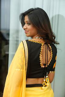 Manali Rathod ina lovely Dhup Chaon Orange Yellow Saree Stunning Pics