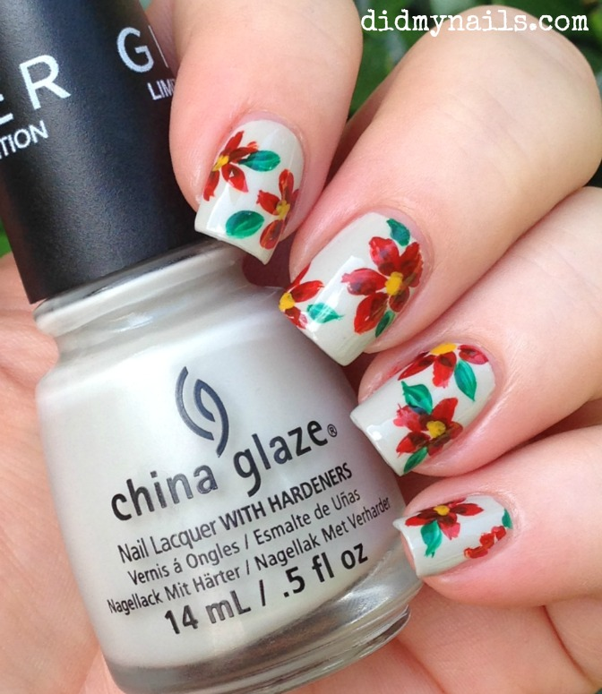 red flower nail art