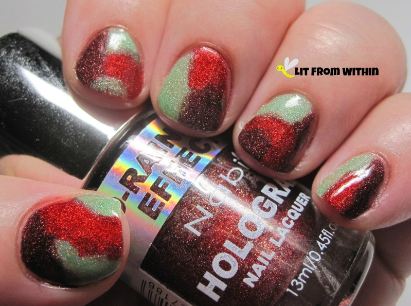 Nabi Red, which is a gorgeous scattered super-saturated red holo, and Nabi Purple, a dark wine, and Polished by KPT Green With Envy, a very sheer pale green scattered holo.