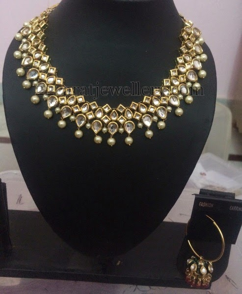 Imitation Kundan Necklace With Hoops Jewellery Designs