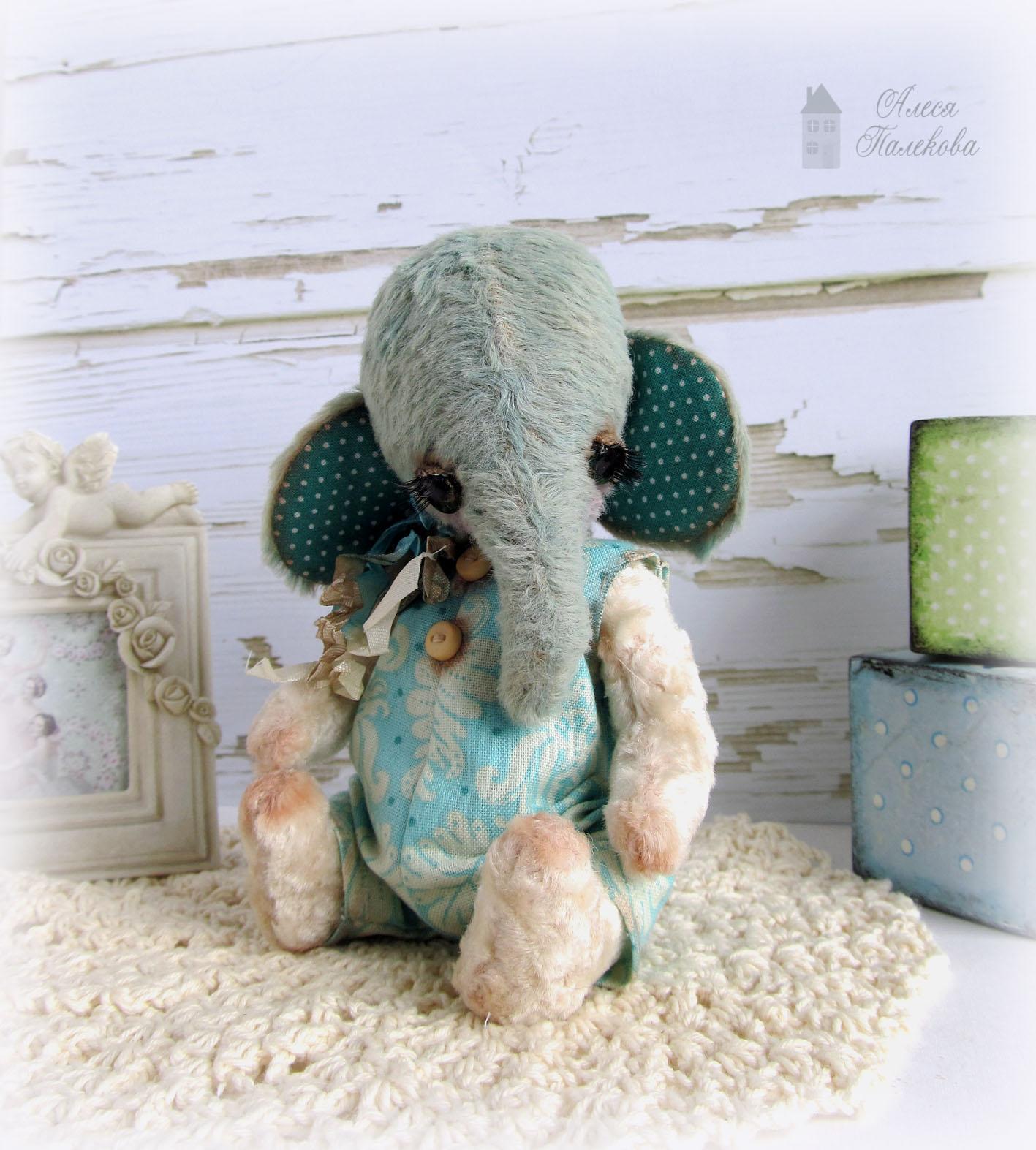 слон, слоник, тедди, мишки Тедди, вискоза, винтажный плюш, грустный слон