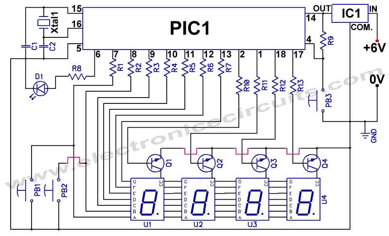 Desember 2012 skema elektronik terbaru pic jam digital didasarkan pada mikrokontroler 16f84 menggunakan empat 7 segmen displays ccuart Image collections