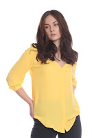 Bluza galbena cu accesoriu dantela AM-10209 (Ama Fashion)