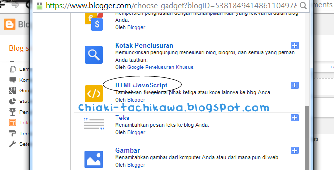 add a gadget di blog