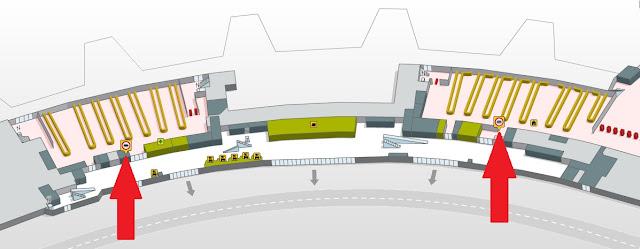 Terminal 1: aduanas se encontram nas laterais