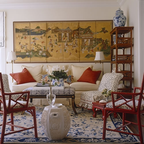 Meg Braff. Love This Room With The Red Accents And The Klismos Inspired  Ottoman. Rattan Etageres Are Fab (there Is One On The Other Side Not  Pictured).