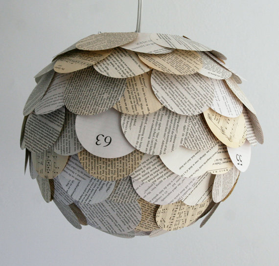 pretty diy idea book page or vintage paper affixed to a paper lantern i