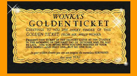 Wonka Golden Ticket Template Written on each golden ticket